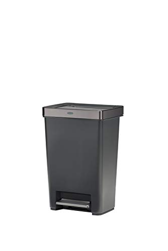 Rubbermaid Premier Series IV Step-On Trash Can for Home and Kitchen, with Stainless Steel Lid, 12.4 Gallon, Charcoal