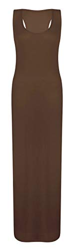 REAL LIFE FASHION LTD Womens Racer Back Maxi#(Brown Plain Sleeveless Scoop Neck Racer Back Maxi Dress#UK 24-26#Womens)