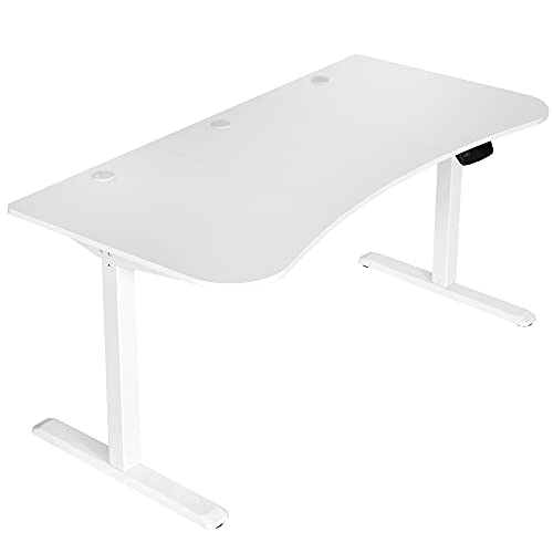 VIVO Electric Height Adjustable 63 x 32 inch Stand Up Desk, Complete Active Workstation with 3 Section White Table Top, White Frame, Touch Screen Controller, DESK-KIT-2E1W