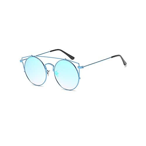 Heigmz tyj - Gafas de sol polarizadas para hombre, marco de metal, redondo, con espejo, para hombre, marco de alambre de metal, gran tamaño (color: azul)
