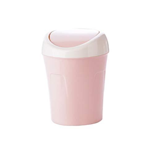 HMEI Creative Mini Linda Linda Bote De Basura Dormitorio Papel Papel Papelería Papelera Papelera Inicio Oficina Escritorio Bote de Basura Reciclaje (Color : Light Pink)