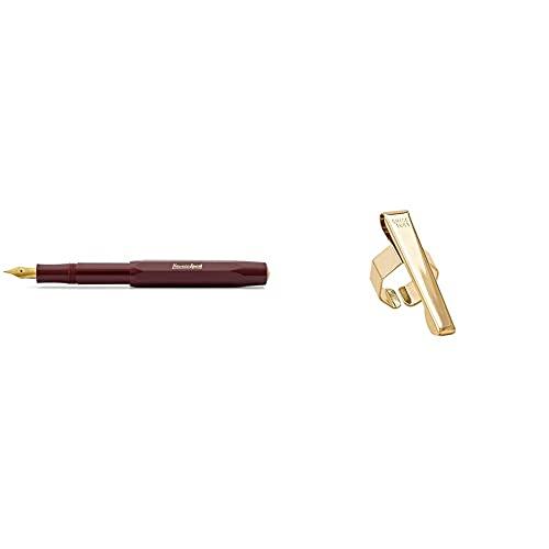 Kaweco Classic Sport Penna Stilografica, 9 Mm, Colore: Bordeaux & Sport Octagonal Clip Dorata