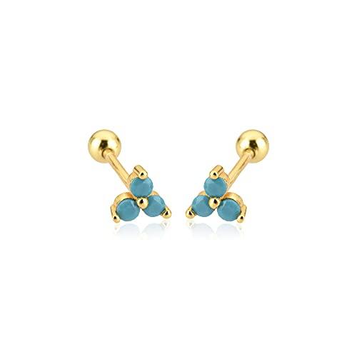 Pendientes de plata de ley 925 con tres circonitas Charoques Clips de perlas Mini colgante Joya pequeña para mujer Regalo-Oro Turquesa