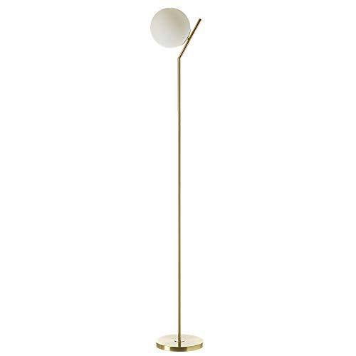 Lámpara de pie de tulipa vintage de metal y cristal dorada de 171x25x25 cm - LOLAhome