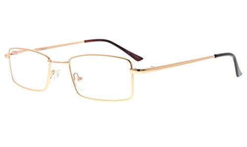 Eyekepper bisagras de primavera gafas de lectura con memoria flexible puente de titanio mens mujeres lectores (Oro,+2.25)