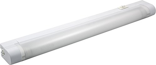 GE Slimline 14in. Fluorescent Light Fixture, Plug-in, 5ft. Power Cord, F8T5 Bulb, Warm White, Flicker-Free, No-Hum, Instant-On Electronic Ballast, Linkable, On/Off Rocker Switch, White, 10168