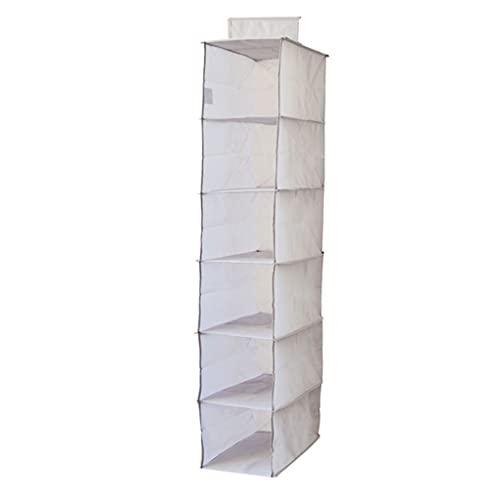 Sacchetto di Abbigliamento sospeso Borsa a Prova di polveri Pieghevole Polghettanti Scaffali Organizzatore con 6 Layer HomeWares Scaffali per Armadio Armadio (Color : Narrow Gray)