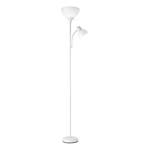 "Globe Electric 67136 Delilah 72"" Torchiere Adjustable Reading Light, Matte Plastic, 3-Step Floor Lamp Socket, Rotary On/Off Switch, 72.88"", White with Frosted Shade"