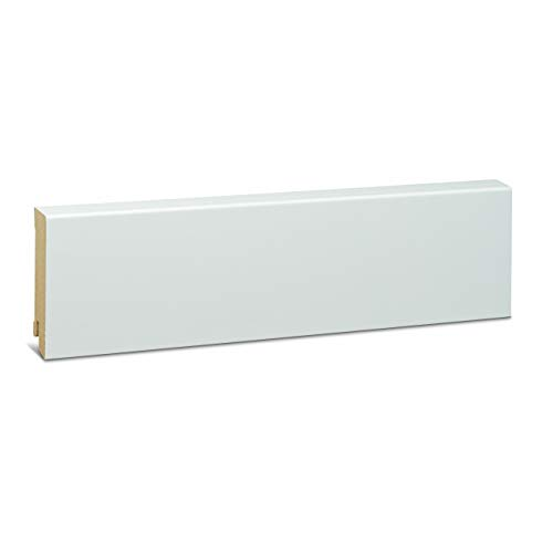 KGM Sockelleiste weiß 80mm | Modern Fussleiste weiss ✓MDF Leiste ✓für PVC Vinyl & Laminat ✓weiße Leisten✓unsichtbare Clip Montage |gerade Sockelleisten 19x80x2500mm