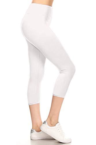 LYCPR128-WHITE Yoga Capri Solid Leggings, One Size