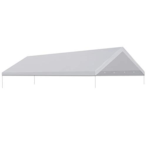 Strong Camel 10'x20' Carport Replacement Canopy Cover for Tent Top Garage Shelter Cover with Ball Bungees (Only Cover, Frame is not Included)