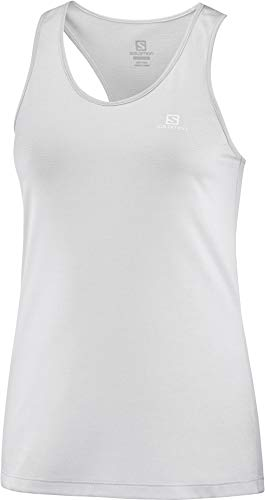 Salomon Damen Tank Top, AGILE TANK W, Polyester, hellgrau (light grey sag), Größe: S, LC1279700