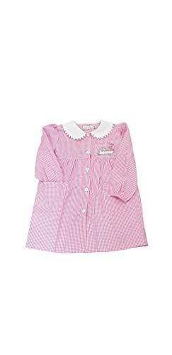PRIMO DELLA CLASSE Grembiule asilo quadri rosa per bambina scuola materna vari modelli (QUADRI ROSA OP302, 60-5 ANNI)