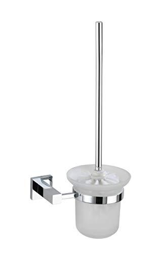 WENKO 17976100 WC-Garnitur San Remo Power-Loc - Befestigen ohne Bohren, Glas, Chrom, 17 x 38 x 12 cm