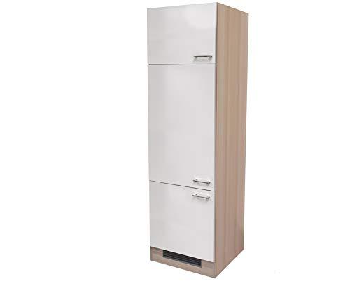 MMR Kühlschrankumbauschrank DERRY - Küchen-Umbauschrank - 3-türig - Breite 60 cm - Perlmutt Weiß