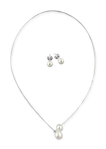Rivelle Damen Brautschmuck Set creme Schmuckset Perlen Kette Collier Ohrringe Hochzeit Geschenkbox