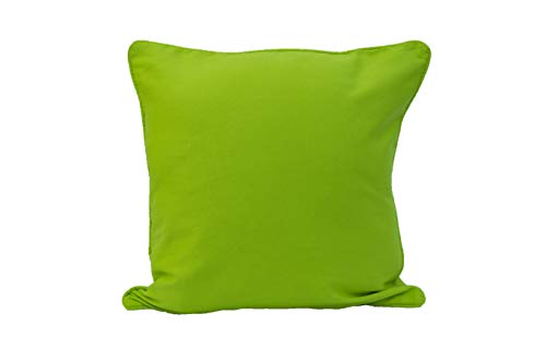 ARLINENS Colourful Plain Dyed 100% Cotton Cushion Cover Size 18'x18' (Lime Green, Pack Of 1)