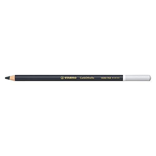 Crayon de couleur - STABILO CarbOthello - Lot de 12 crayons fusains pastels - Noir d'ivoire (1400/760)