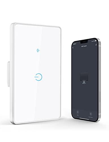Interruttore WiFi, Maxcio Interruttore della Luce Compatibile con Alexa e Google Home, Pannello di Vetro, Smart Light Switch Controllato da Maxcio APP, Funzione Timer, Adatto per Soggiorno (1 Gang)