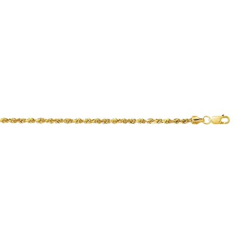 10k Yellow Gold 2.5mm Sparkle Cut Hollow Sparkle Rope Chain Bracelet With Lobster Clasp Jewelry Gifts for Women - 18 Centimeters - Higher Gold Grade Than 9ct Gold