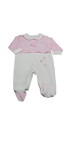 Body y conjunto para niño y niña canastilla para bebé y bebé de algodón jersey con pies Ig149/9 Rosa E Bianco 6-9 Meses