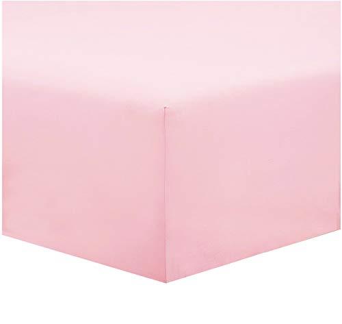 Lenzuolo sotto Tinta Unita 100% Cotone, con Altezza Materasso 20 cm in diversi Colori Ottima qualità con Angoli Elasticizzato (Rosa, matrimoniale)