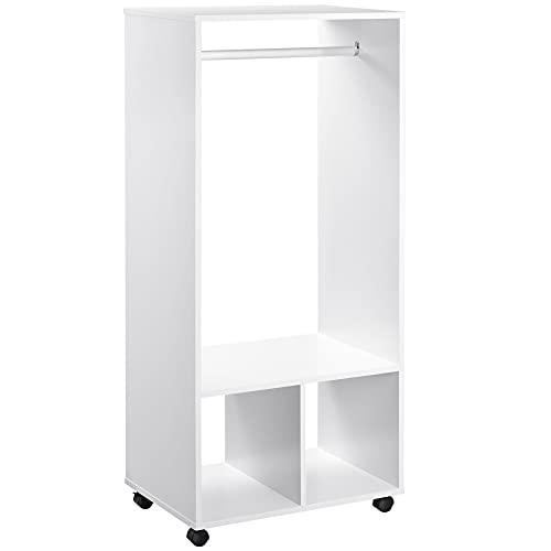 HOMCOM Mobiler Kleiderschrank Garderobe Schrank mit Regal 4 Schwenkräder für Wohnzimmer Schlafzimmer, Aluminiumlegierungen, 60 x 40 x 128 cm, Weiß