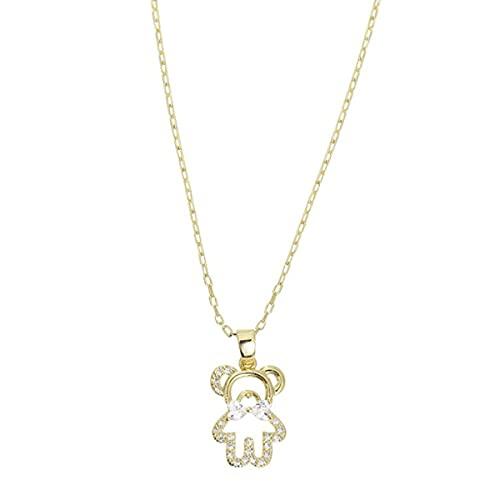 KoelrMsd Collana,Collana corta in oro con orsetto carino per donna Brillante Zircone Girocollo Compleanno regalo creativo Ciondolo gioielli da sposa