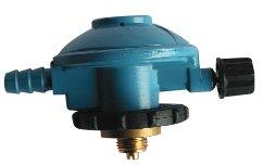 Grifo regulador de gas con cabezal giratorio con presión de salida 28 (gr/cm^2) para botella azul tipo camping