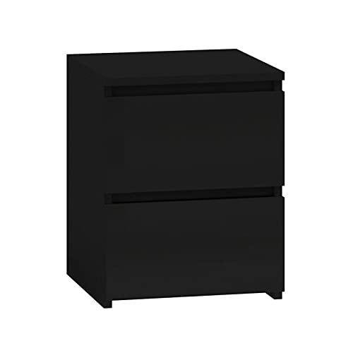 ADGO Malwa M2 - Comodino con due cassetti, comodino, tavolino da caffè, per camera da letto, soggiorno, cameretta dei bambini, un piccolo armadio accanto al letto (nero)