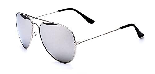 Secuos Moda Gafas De Sol De Espejo A Estrenar Hombres Mujeres Pilotos Gafas De Piloto Uv400 Lente Espejada Gafas De Sol Plata