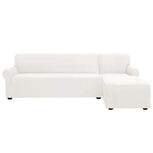 subrtex Funda Sofa Chaise Longue Chaise Longue (Chaise Longue Derecho,Crema)