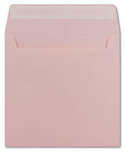 50 Quadratische Brief-Umschläge Rosa - 15,5 x 15,5 cm - 120 g/m² Haftklebung stabile Kuverts ohne Fenster - von Ihrem Glüxx-Agent