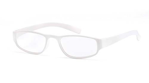 Extrem leichte Filtral Lesebrille in der Trendfarbe Weiß/Moderne eckige Lesehilfe für Damen & Herren / +3,00 dpt F4524253