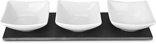 ROMINOX Geschenkartikel Servierschalen // TRE Ardesia – Servieren mit Stil, 4-teilig, 3 Keramikschalen auf elegantem Schieferbrett (Schiefer, Keramik); Maße: ca. 26 x 8.5 x 4 cm