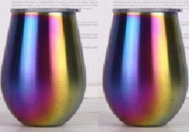 Yideng - Vaso de vino con aislamiento al vacío, 2 unidades, con tapa, 330 ml, vasos de vino aislados de acero inoxidable con tapa para café, vino, té, bebidas