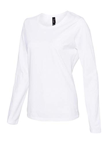 Hanes Womens Long Sleeve Scoopneck T-Shirt (S04LS) -White -M