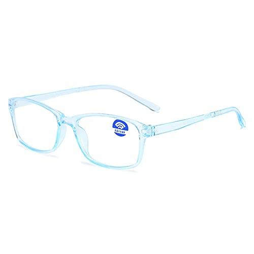HAOXUAN Gafas de Lectura Retro Marco Cuadrado Bloqueo de luz Azul Lector de computadora Antideslumbrante Visión HD Unisex Gafas Dioptrías +1,00 a +3,00,Azul,+2.00