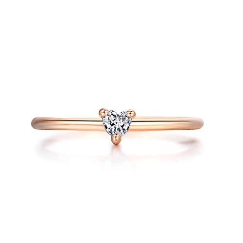 Anillos para mujer Anillo de compromiso de boda en forma de corazón pequeño Jewellry Zircon Jewelry-9, oro rosa