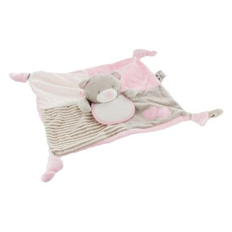 FILOUFACE - Peluche sonajero cuadrado para bordar en punto de cruz, oso color rosa, 28 x 28 cm