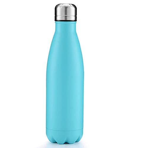 Botella de agua termo al vacío aislada de acero inoxidable de 500 ml Botellas de doble pared para botellas deportivas para niñas Envío gratis 2021-500 ml, azul claro