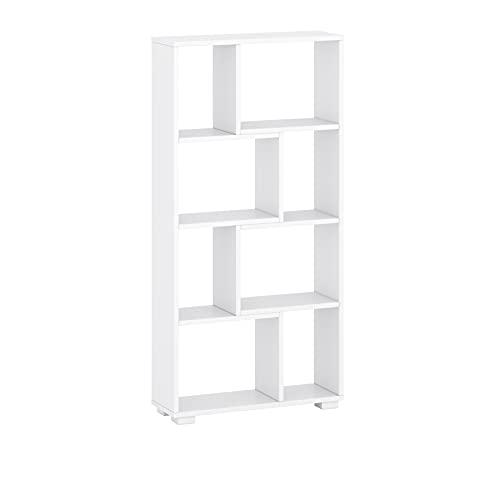 Libreria geometrica a parete autoportante montata orizzontalmente o verticalmente RTV stand colore bianco