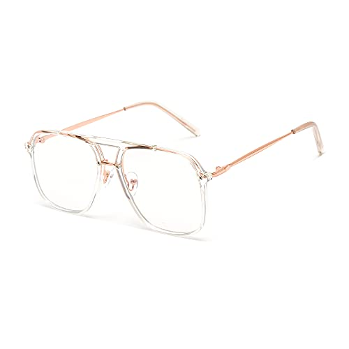 GLINDAR Gafas de Bloqueo de Luz Azul, Gafas de Ordenador Cuadradas Retro para Mujer Oro Claro