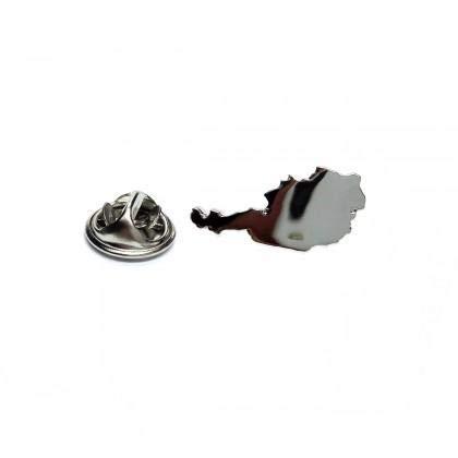 Ashton en Finch Outline Kaart van Oostenrijk Rhodium vergulde Lapel Tie Pin