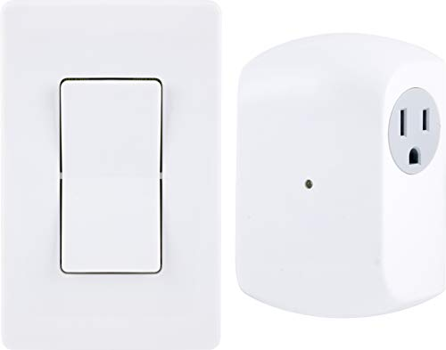 GE Wireless Remote Wall Switch Control, No Wiring Needed, 1 Grounded Outlet, White Paddle, Plug-in, Upto 100ft Range, Ideal for Indoor Lamps, Small Appliances, and Seasonal Lighting, 18279, Other