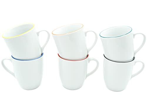 Set aus 6 Stück Tassen 300 ml aus echtem Porzellan mit einem Farbrand in 6 erfrischenden Farben auch zum Bemalen bestens geeignet Porzellantassen Tasse Becher für Tee Kaffee Milch Cappuccino