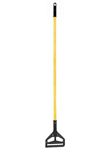 Alpine Industries Commercial Quick-Change Iron Mop Handle - Professional Mopping Tube w/Metal Gripper for Rags - Heavy Duty Stick & Mop Head Replacement Holder (Iron)