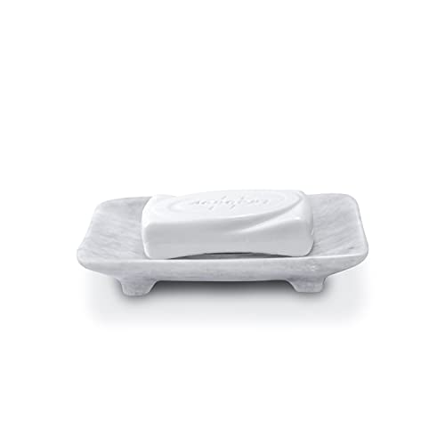 Luxury Handmade White Marble Soap Dish Holder with Drain for Bathroom and Shower, Best Bath Products & Sponge Tray for Kitchen & Housewarming Gifts.