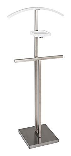 Haku Möbel Herrendiener - Stahlrohr Edelstahloptik mit Kleiderbügel Höhe 116 cm