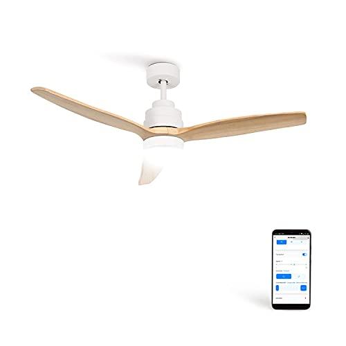 CREATE IKOHS WINDSTYLANCE DC - Ventilador de Techo Wifi, con Mando a Distancia, 3 Aspas, Potencia de 40W, Ultrasilencioso, 132 cm de Diametro, 6 Velocidades (con luz - Blanco y madera clara)